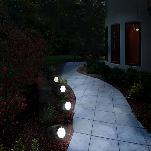 Solar Ed Rock Lights Set Of Four Low Voltage Led Outdoor Stone Spotlight Fixture For Gardens Pathways And Patios By Pure Garden